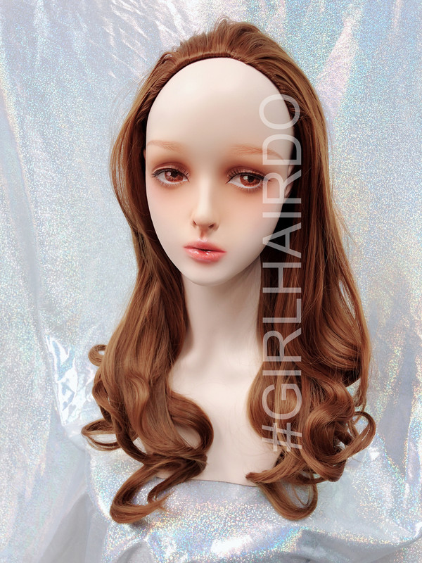 H9072/2730 Japanese Long curly partial wig light gold brown