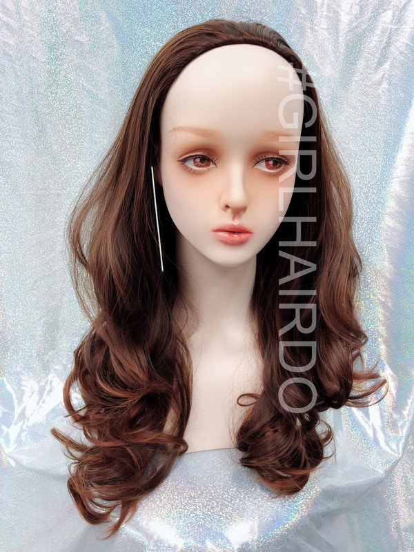 H9072/230 honey brown partial wig Long curly