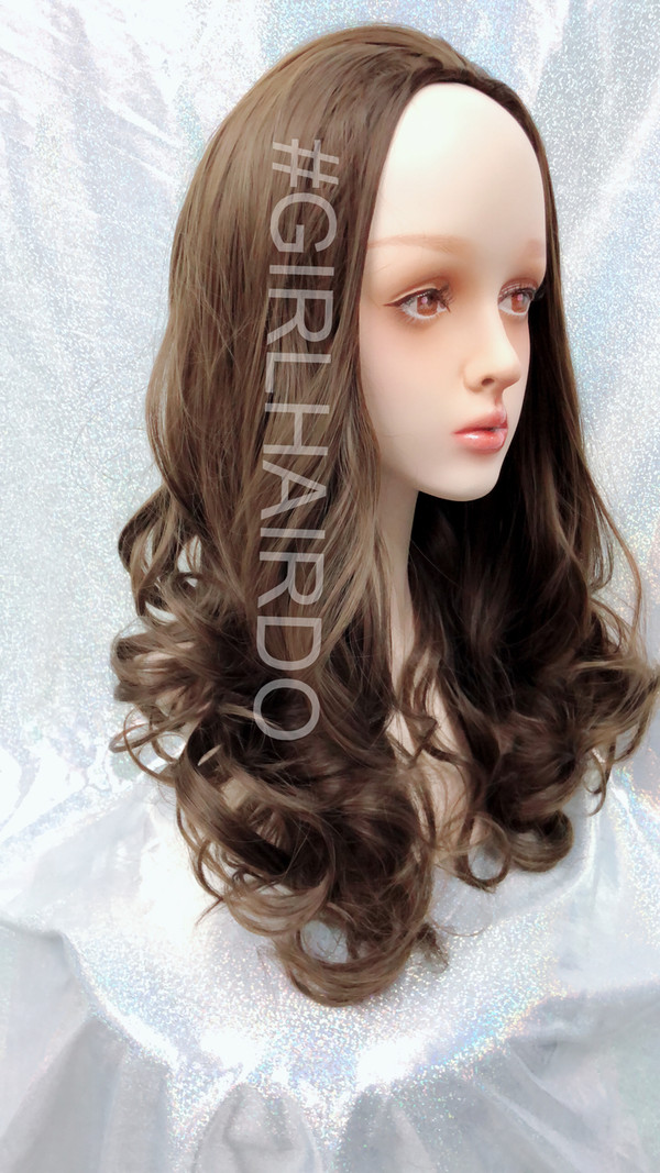 H9072/8 dark ash brown Long curly partial wig