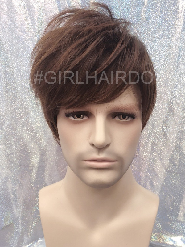 M3807 stylable light brown men wig