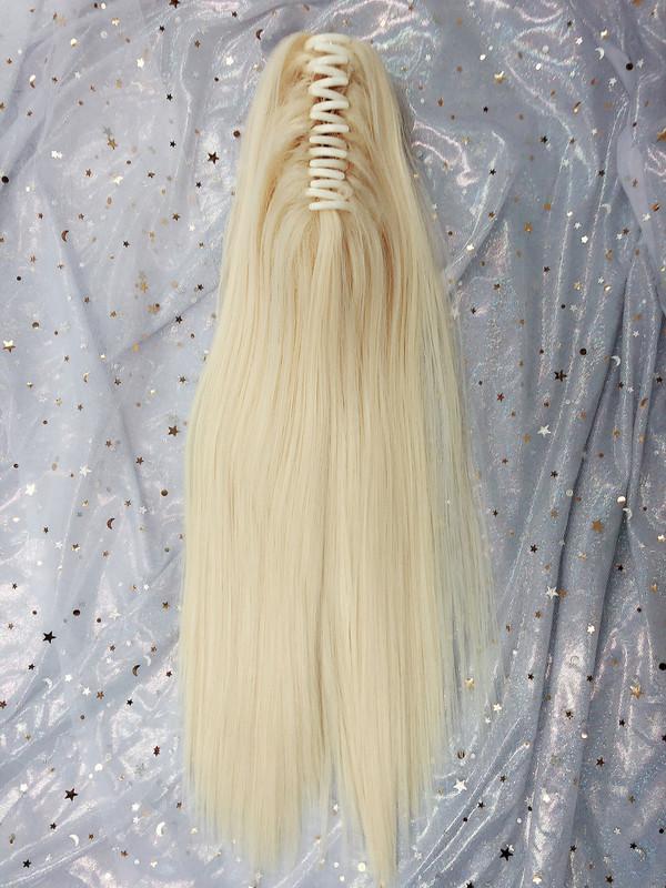 Straight rebonded platinum blonde claw high ponytail
