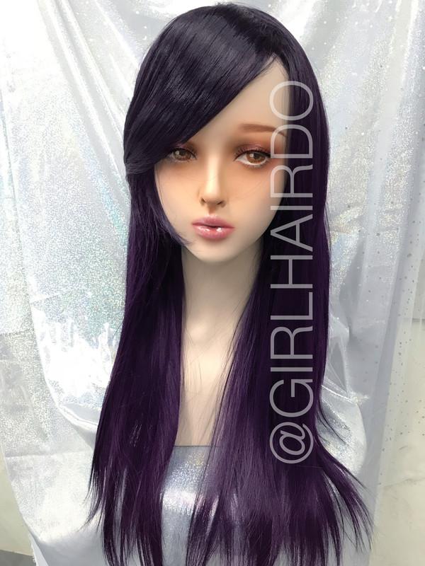 Party wig Dark purple Long wig