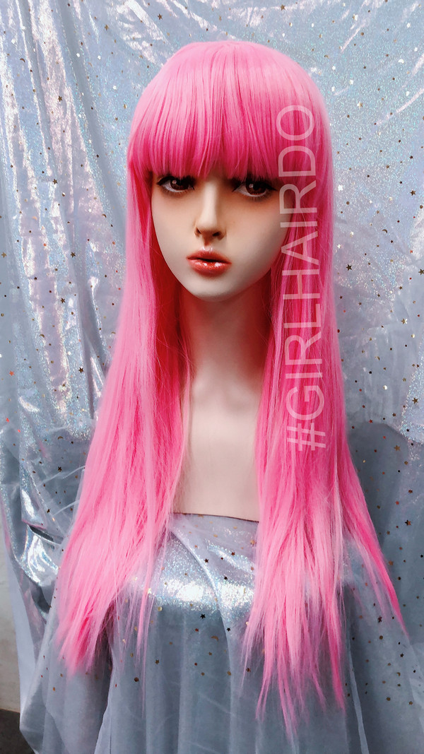 Baby pink Long party wig