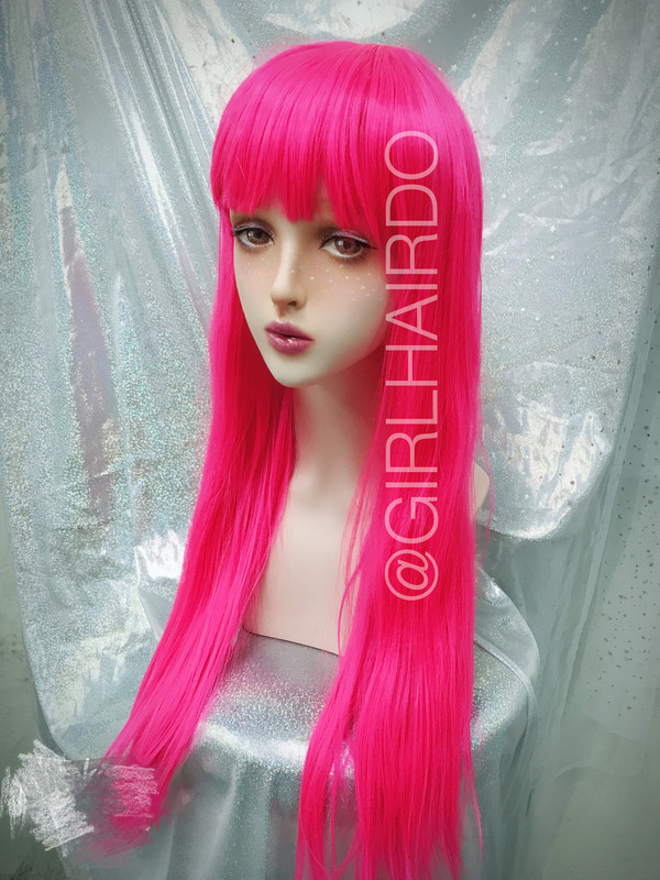 Hot pink Long party wig