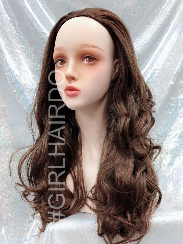 H5009 Honey brown Long curly partial wig premium