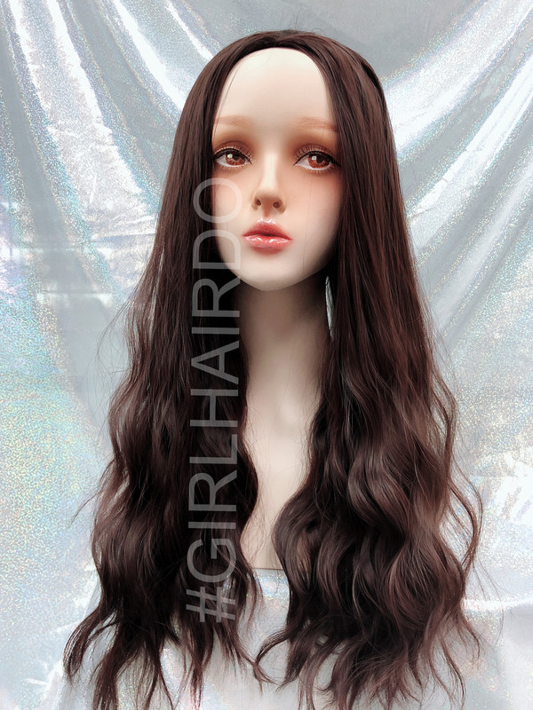 H5015 Choco brown Long sexy permed partial wig premium