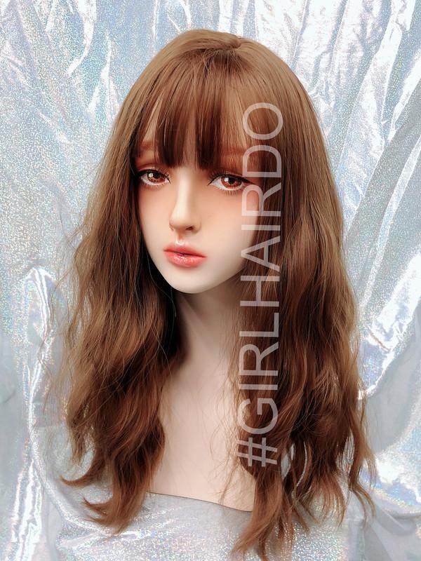 K7618 golden brown permed skin wig