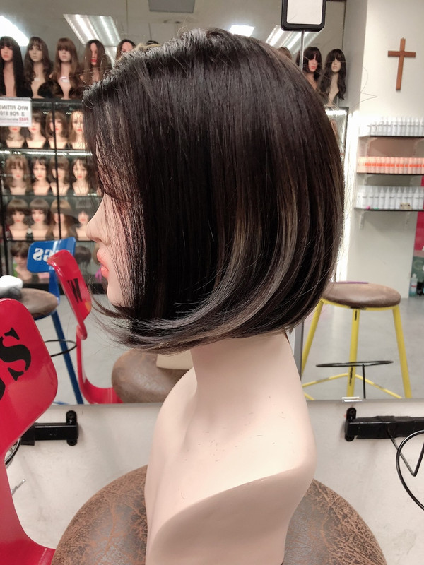 human hair black with grey ends bob wig