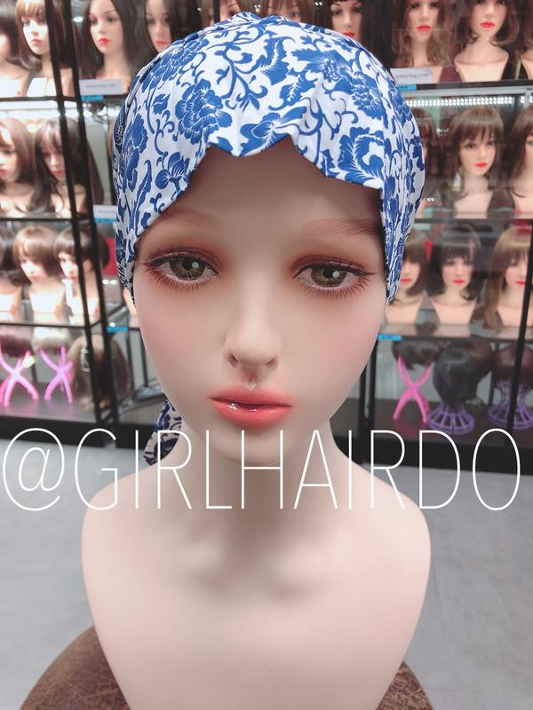 Chemo  blue cotton scarf