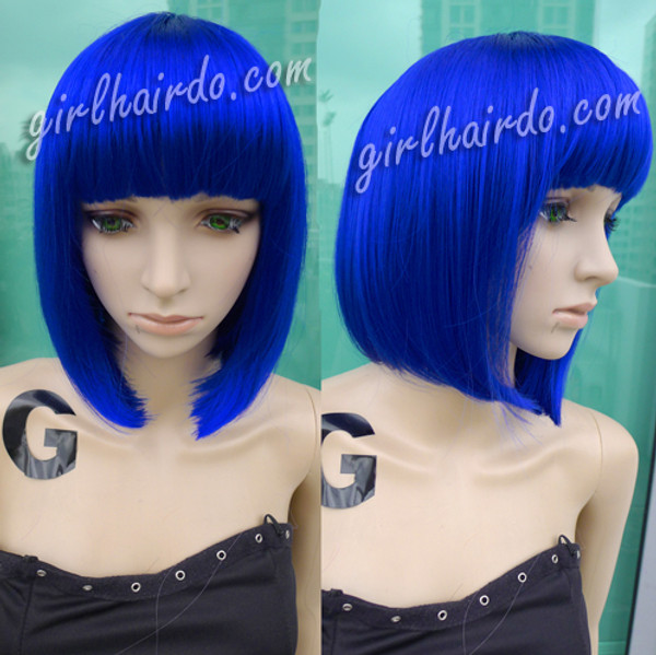 COLOUR BOB [premium Fibre] Metallic Blue Bob Wig