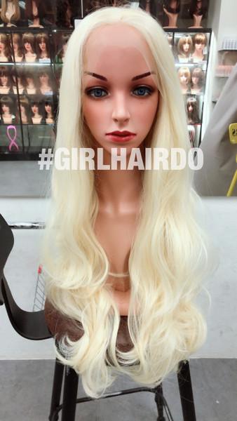 Platinum blonde Long wavy soft curls lace front wig