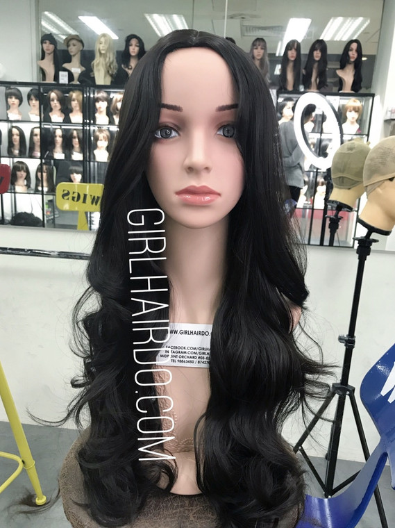 #9133 black Long wig center parting Long fringe (new)