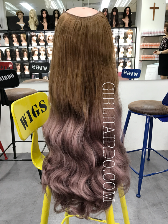Crown round shape hair extensions light brown ombré Pastel pink (watch video)