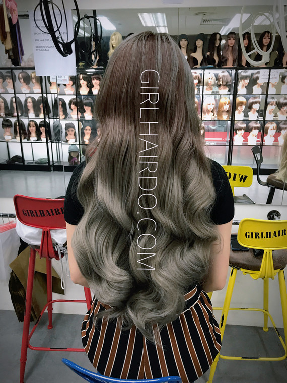 CROWN ROUND SHAPE HAIR EXTENSIONS BROWN TO SILVER