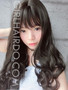 #8848 non shiny long curly black wig with bangs