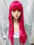 Bright pink Long part wig