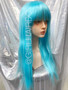 Light blue Long party wig