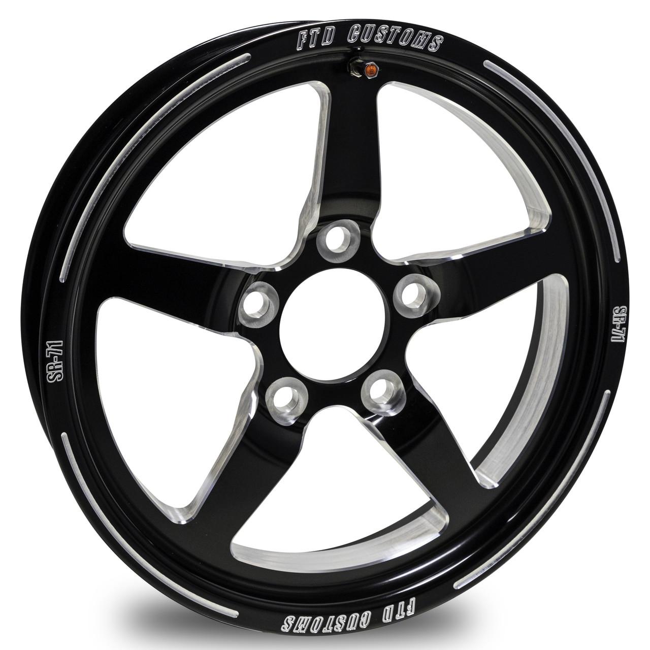 "FTD 15x3.5"" SR-71 Black Contrast Drag Racing Wheels"