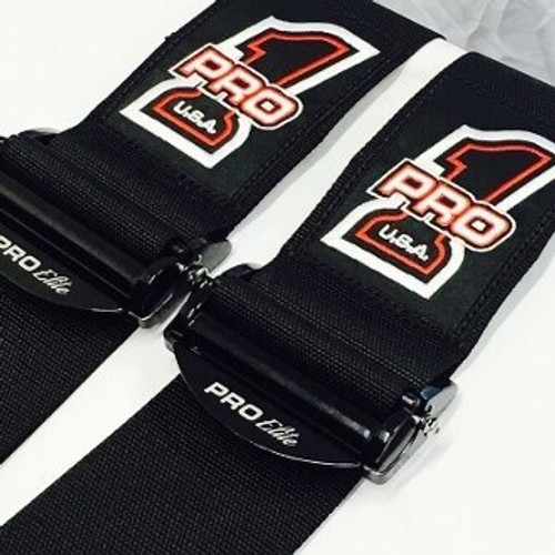 Pro Elite Latch Link Safety Harness Dragster Seat Belts - Black