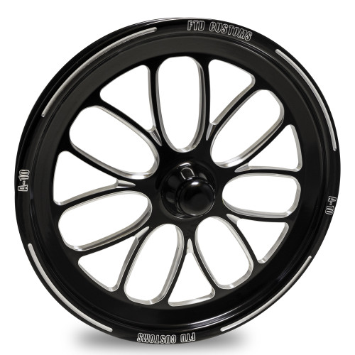 FTD Customs A-10 Black Contrast Forged Dragster Spindle Mount Racing Wheel