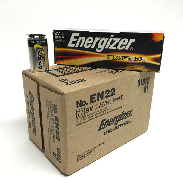 Energizer Industrial 9 Volt Batteries - Case of 72