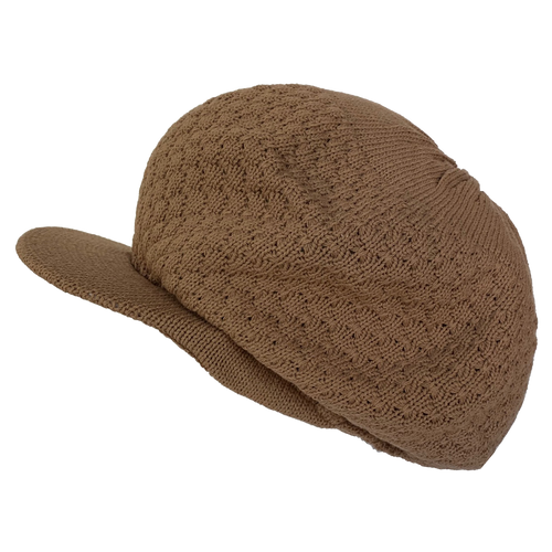 Knitted Tam - Solid Tan w/ Visor