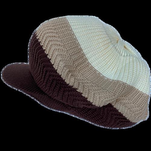 Knitted Tam - Sand 3 Tone W/ Visor