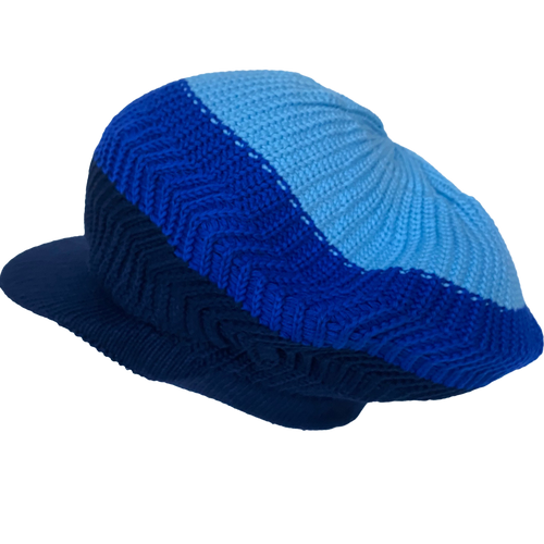 Knitted Tam - Blue 3 Tone W/ Visor