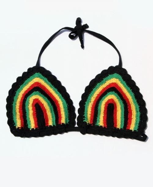 Rasta Triangle Crochet Top  Rasta