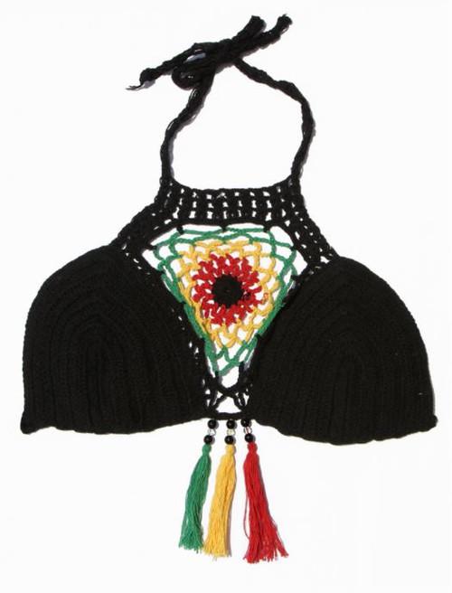 Rasta Fringe Crochet Top Black