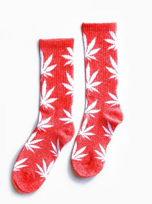 Weed Leaf Tube Socks Orange -Unisex