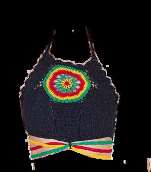 Rasta Flower Center Crochet Top