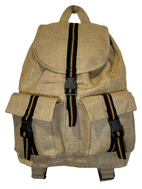 Jute Rasta  Backpack with Front Pockets