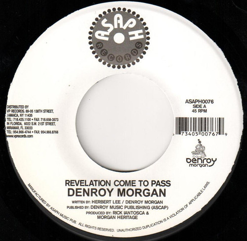 Revelation Come To Pass - Denroy Morgan (7 Inch Vinyl)