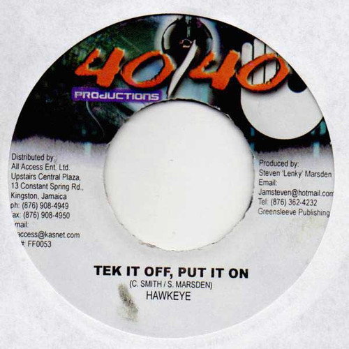 Tek It Off Put It On - Hawkeye (7 Inch Vinyl)