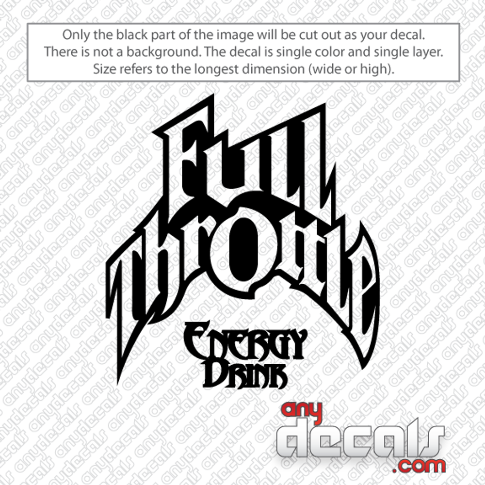 Full Throttle car decals, energy drink car decals