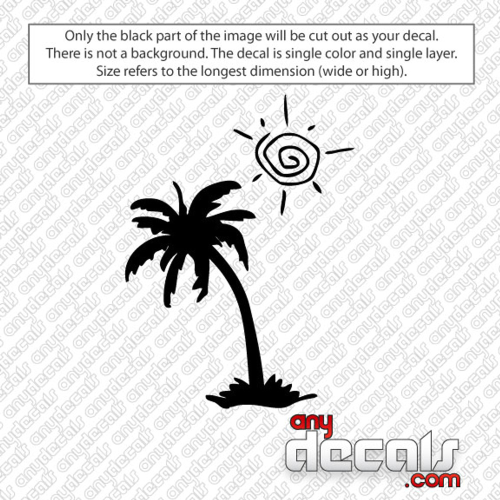 Leaning Sun Palm Tree Car Decal