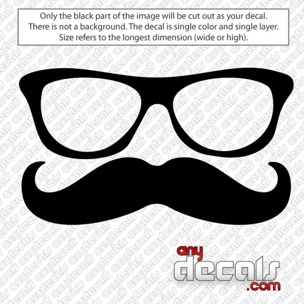 The most notable fake moustache of all-time was probably worn by Charlie Chaplin for his role as The Tramp. He initially wore it as a means of disguising his youth for the role. Glasses and Mustache Car Decal for use outdoors on cars, windows, or other surfaces. Vinyl used for decals is high quality outdoor rated vinyl. All vinyl decals are made in the USA