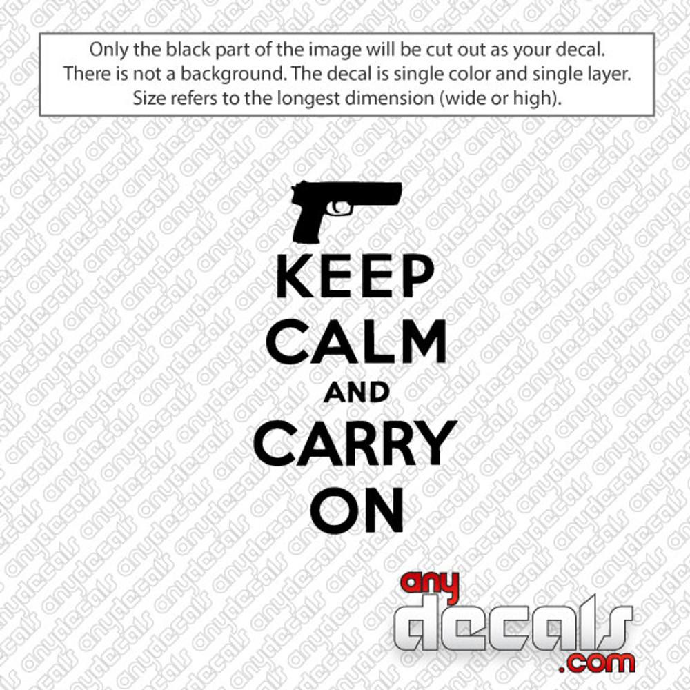 Keep Calm Gun Car Decal