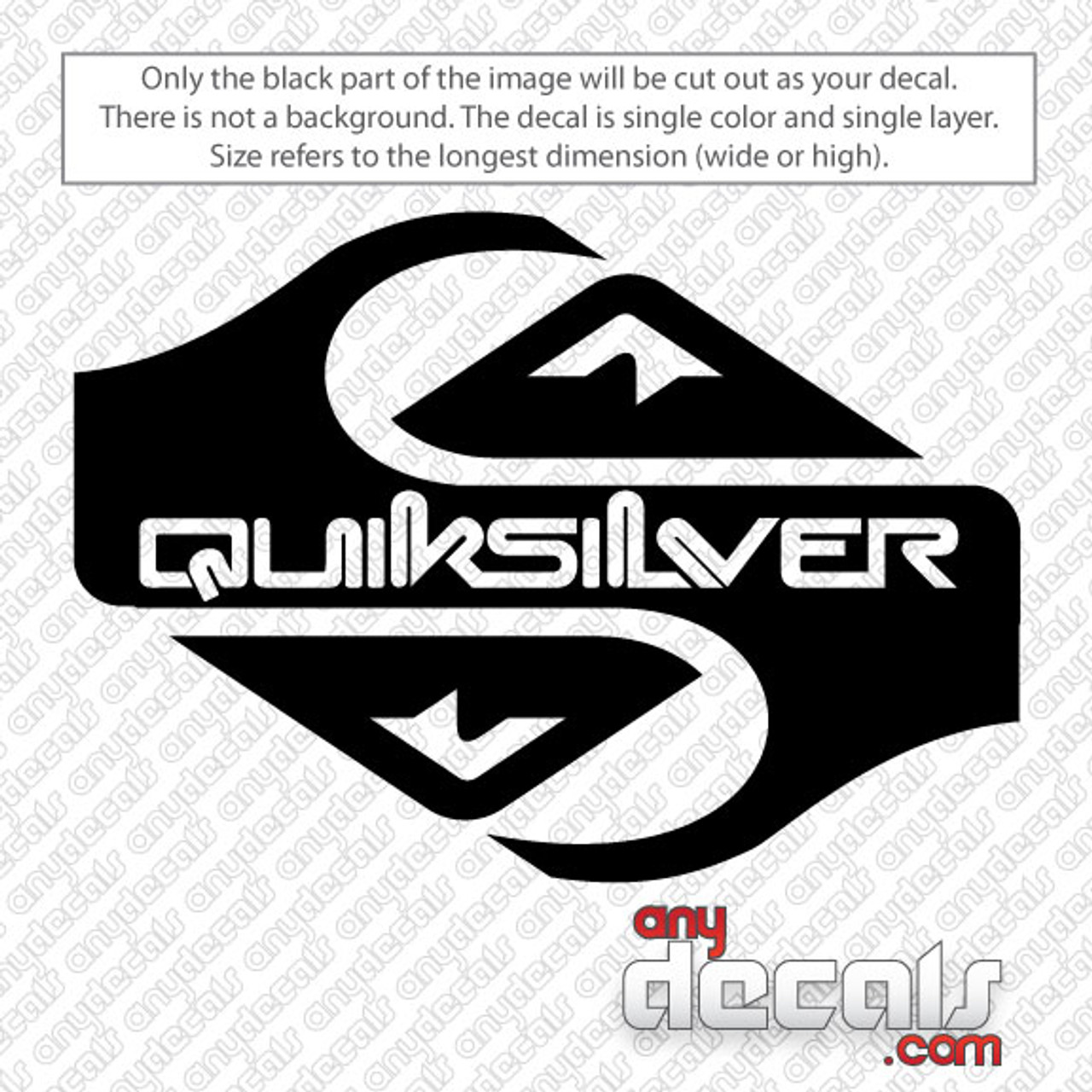 Quicksilver White Car Sticker Vinyl Decal Surf Board New