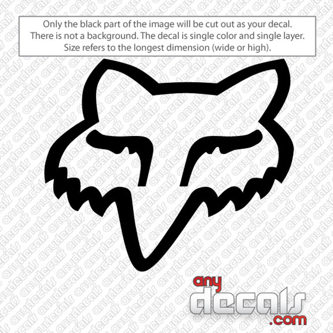 Motocross Car Decals Fox Racing Fox Head Car Decal Anydecals Com