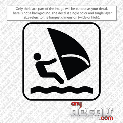 windsurfing symbol car decals and stickers