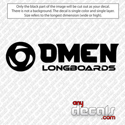 OMEN Long Boards high quality decks that push the limits of wood construction with insane concaves, shapes and classy graphics. OMEN Long Boards Logo Car Decal for use outdoors on cars, windows, or other surfaces. Vinyl used for decals is high quality outdoor rated vinyl. All vinyl decals are made in the USA