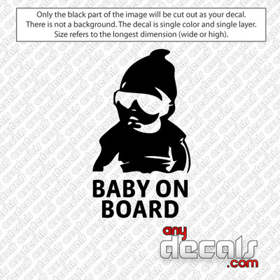 Talk about a baby picture :) Carlos! Baby on Board Hang Over Car Decal for use outdoors on cars, windows, or other surfaces. Vinyl used for decals is high quality outdoor rated vinyl. All vinyl decals are made in the USA