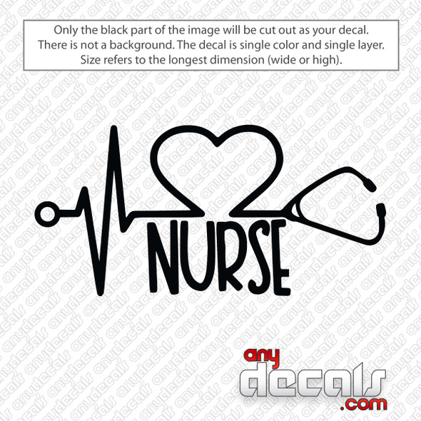 Nurse Stethoscope Heart Decal Sticker