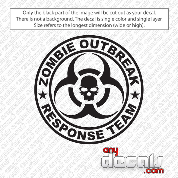 Zombie Outbreak Response Team Biohazard Decal Sticker