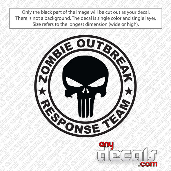 Zombie Outbreak Response Team Punisher Skull Decal Sticker