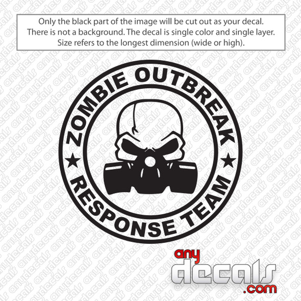 Zombie Outbreak Response Team Skull Gas Mask Decal Sticker