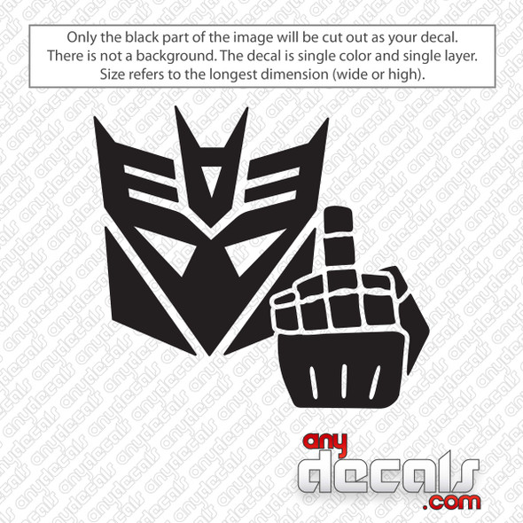 Decepticon Flipping Bird Decal Sticker