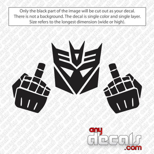 Decepticon Middle Finger Decal Sticker